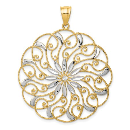 14k Yellow Gold Meridian Swirl Pendant Charm Necklace Fancy Gifts For Women For Her