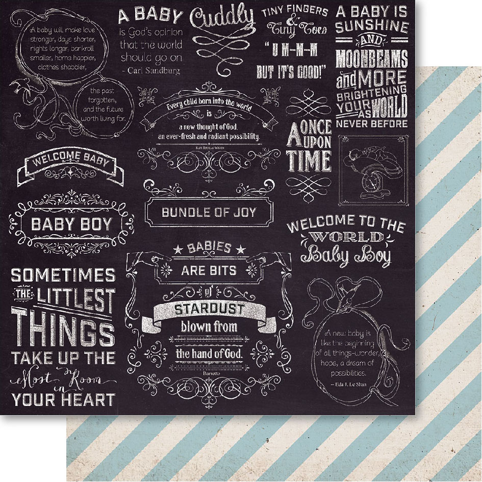 "Bella! Baby Boy Double-Sided Cardstock 12""X12""-Little Things"