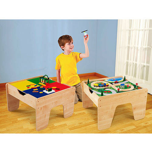 KidKraft 2-in-1 Wooden Activity Table with LEGO-Compatible Board and 30-pc Train Set