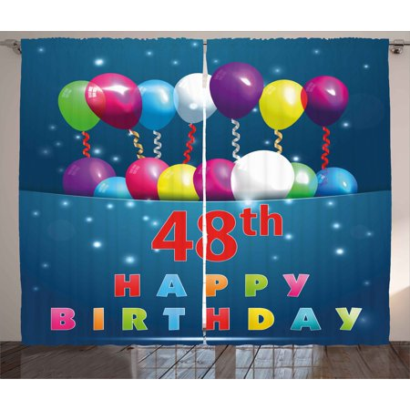 48th Birthday Decorations Curtains 2 Panels Set Greeting Happy Party Event Balloons Ribbon Joyful Illustration