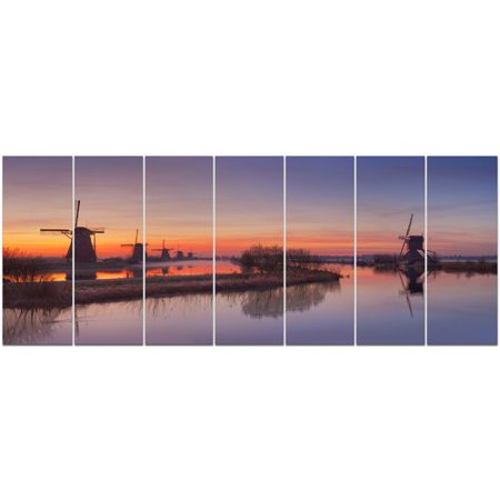 Orange Windmill - Design Art 'Dutch Windmills Panorama' Photographic Print Multi-Piece Image on Canvas