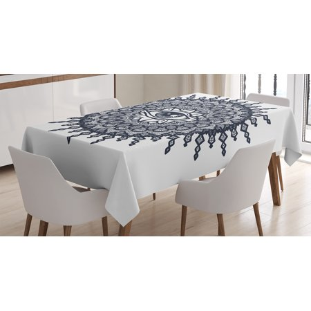 60 Inch Round Dining Room - Occult Decor Tablecloth, Traditional Round Mandala Motif with Eye in Middle Secret Sight Occult Image, Rectangular Table Cover for Dining Room Kitchen, 60 X 90 Inches, Grey White, by Ambesonne