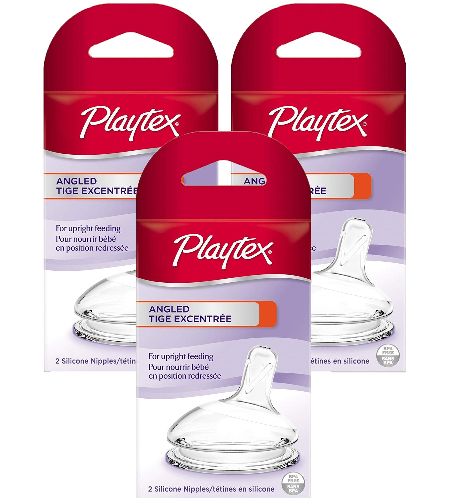 Playtex Angled Nipple - Medium Flow, 2 Count, 3 Pack