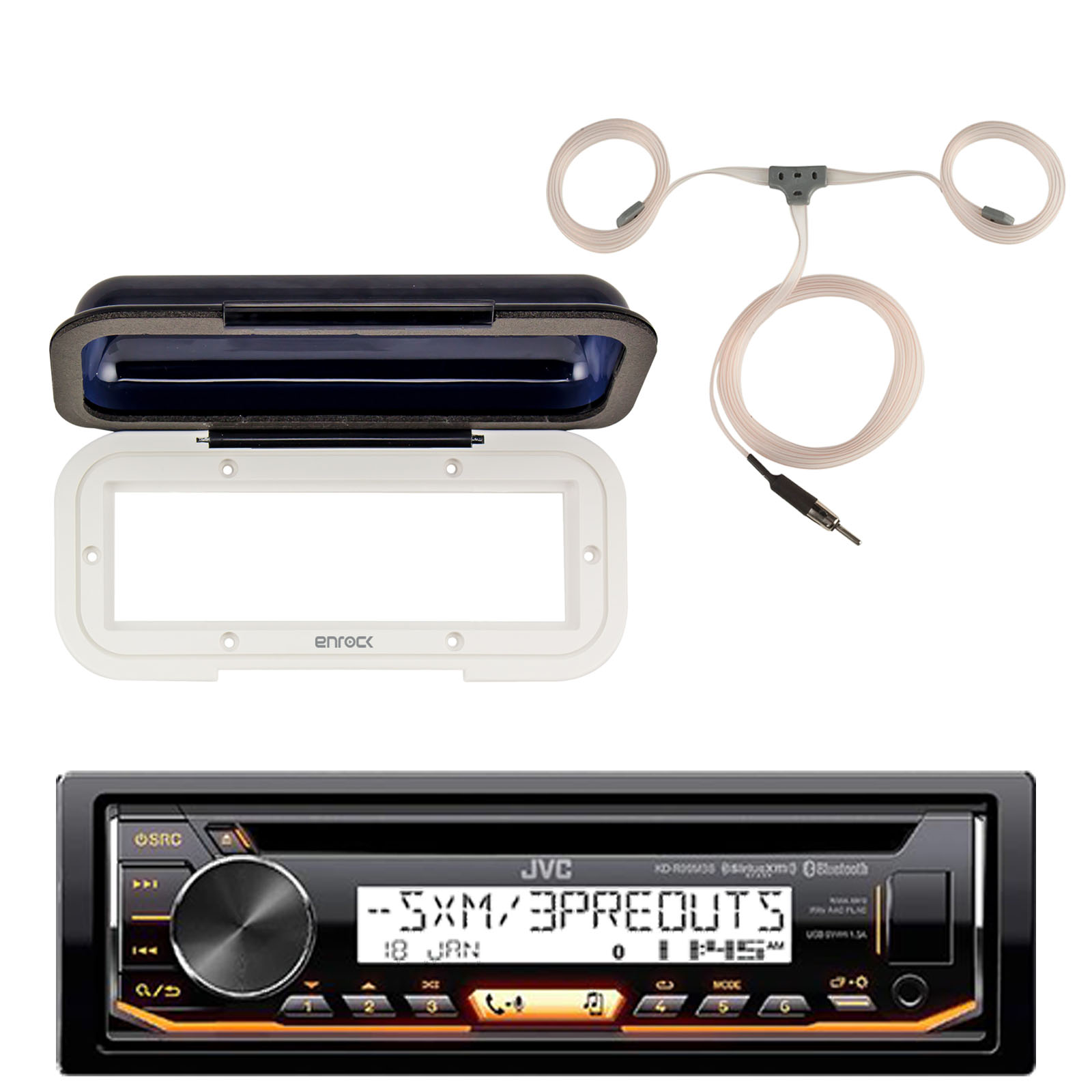 JVC KD-R99MBS Marine Bluetooth CD Receiver, Single DIN Radio Cover - White , Enrock AM/FM Boat Antenna