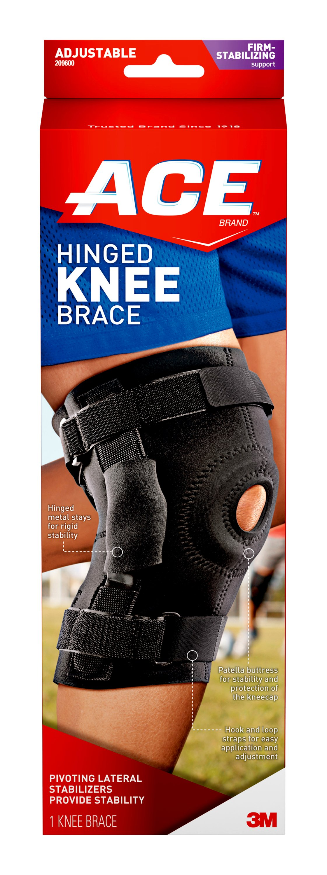 ace brand hinged knee brace  adjustable  black  1  pack