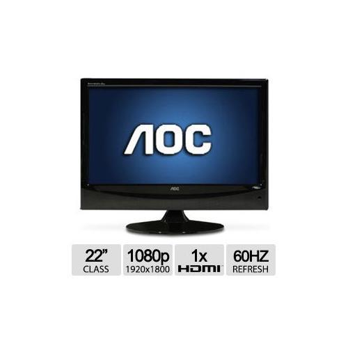 "Refurbished AOC 22"" Class LCD HDTV - 1080p, 1920x1080, 1000:1 Native, 10000:1 Dynamic, 16:9,"