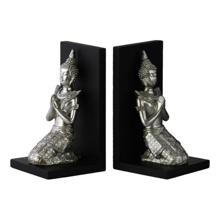 Urban Trends Resin Kneeling Buddha with Pointed Ushnisha in Anjali Mudra and Base Bookend (Set of 2)
