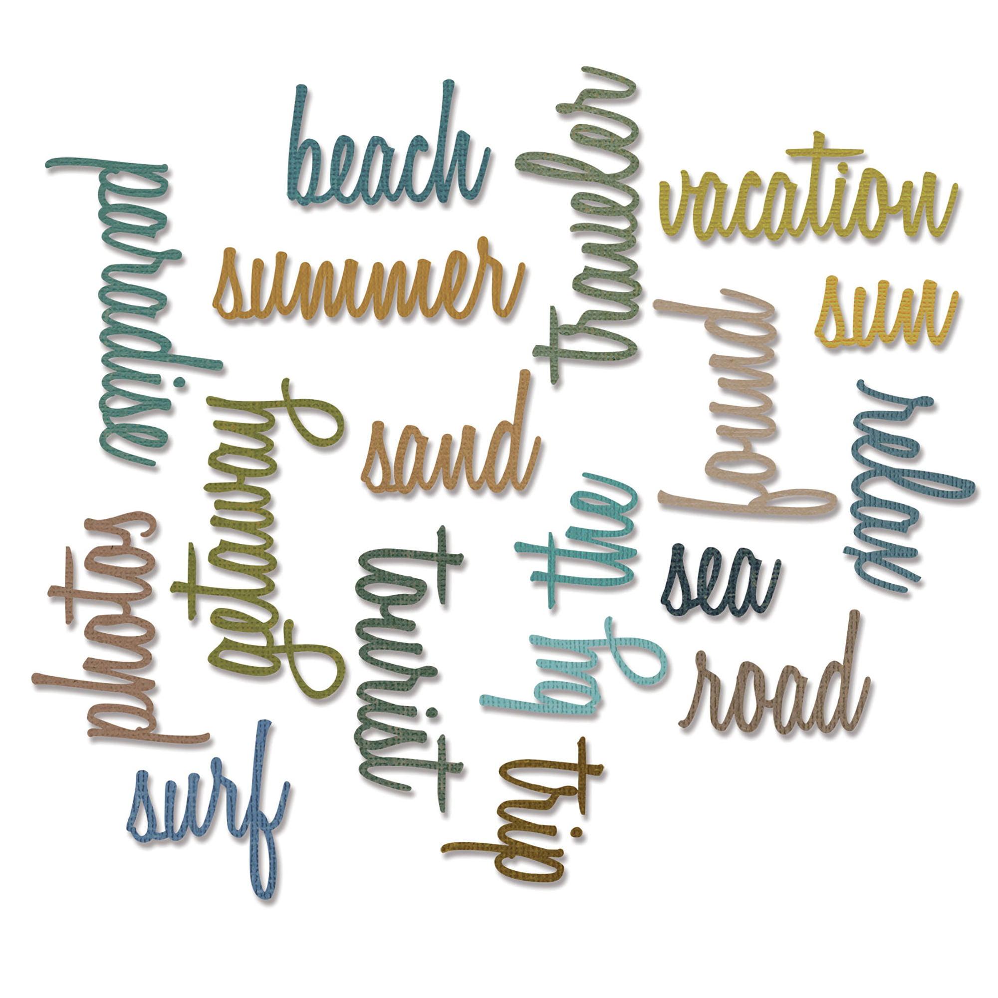 Sizzix Thinlits Dies - Vacation Words: Script by Tim Holtz