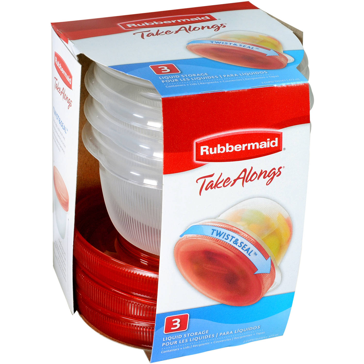 Rubbermaid TakeAlongs Twist & Seal Liquid Storage Containers, 3 count
