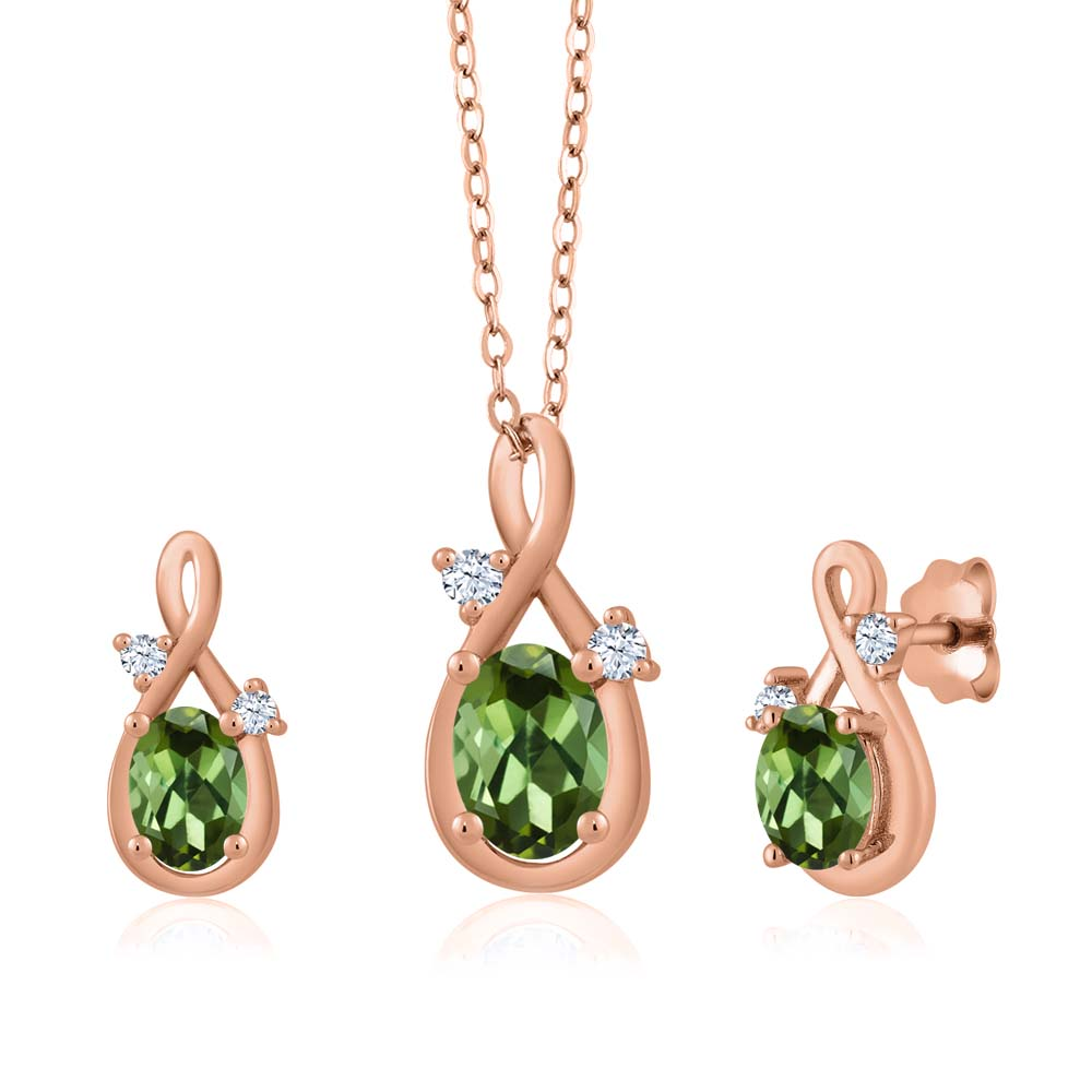 1.79 Ct Oval Green Tourmaline 18K Rose Gold Pendant Earrings Set by