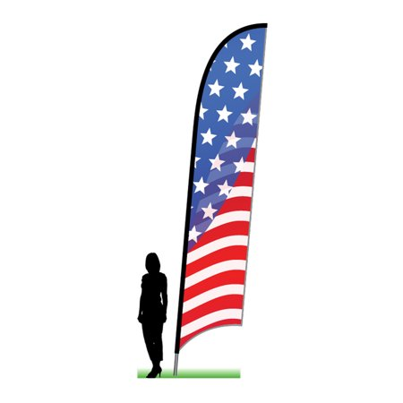 Complete Flag Kit - USA Stars and Stripes - complete 14' ground spike swooper feather flag kit