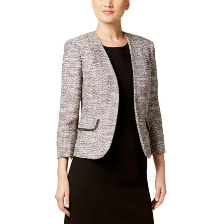 Trim Tweed Suit (Kasper Women's Tweed Kiss Front Chain Trim Jacket)