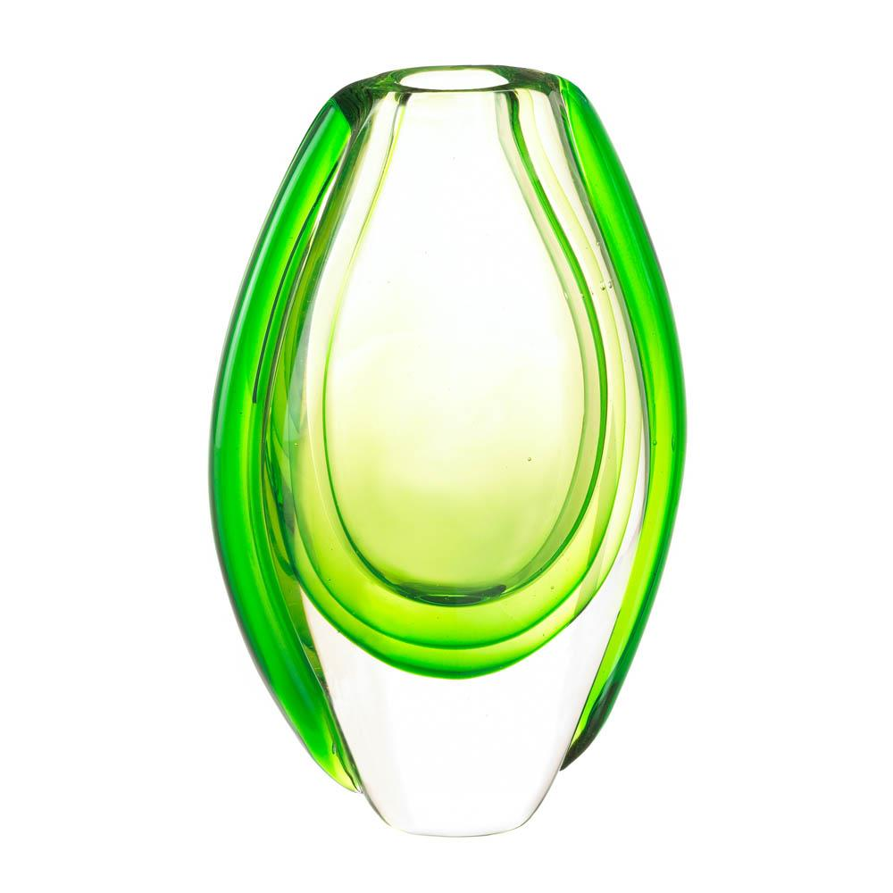 Glass Vases Decorative, Small Green Art Round Glass Vase For Centerpiece