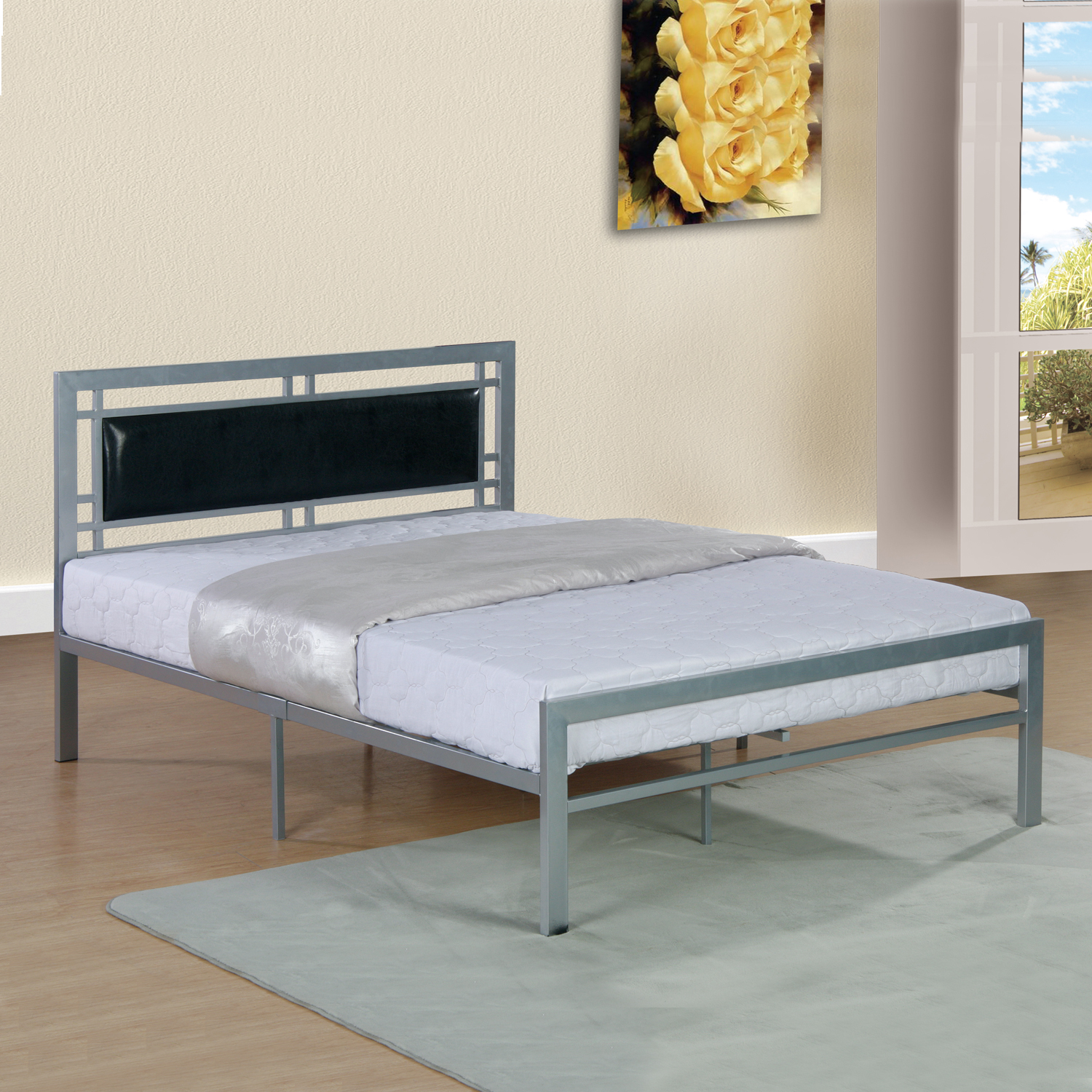 Home Source Rectangle Accent Headboard Twin Bed