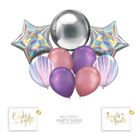 Andaz Press Pastel Iridescent Unicorn Party Balloon Bouquet Set, Rainbow Holographic Party Supplies, Inflatable](Inflatable Balloon)