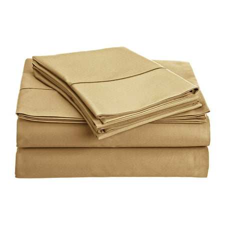 800 Collection (CHATEAU HOME COLLECTION 800-Thread-Count Egyptian Cotton Deep Pocket Sateen Weave Queen Sheet Set, Wheat )
