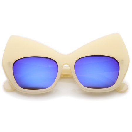sunglassLA - Chunky Frame Colored Mirror Square Lens Oversized Cat Eye Sunglasses -