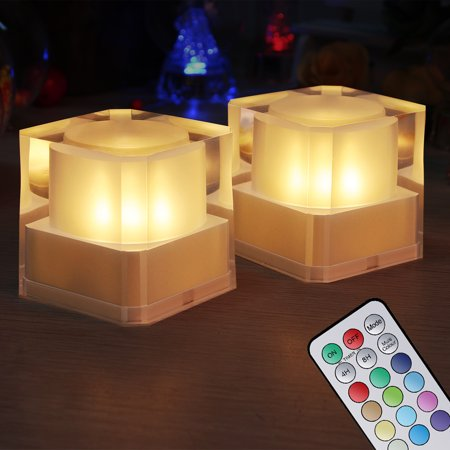 LED Night Light Flameless Crystal-like Cube Light Battery Operated with Remote and Timers Electric Flickering Light for Bedroom Home Decor