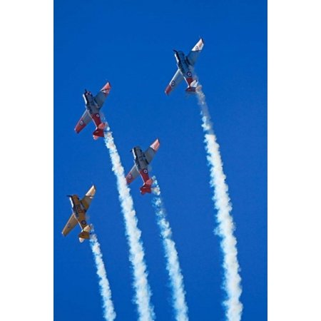 Aerobatic display by North American Harvards or T-6 Texans or SNJ Airshow Canvas Art - David Wall DanitaDelimont (18 x 26)