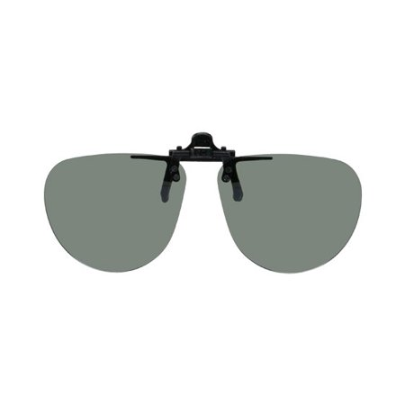 Polarized Clip on Flip up Plastic Sunglasses, Small Aviator, 52-54mm Wide X 51mm High, Polarized Grey Lenses