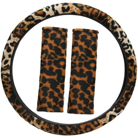 Animal Print Leopard Steering Wheel Cover Belt Pad for Car/Truck/Van/SUV White Steering Wheel Cover