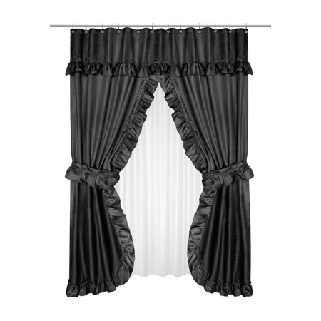 GoodGram Lauren Complete 5 Piece Attached Shower Curtain & Valance ...