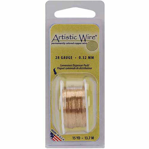 Permanently Colored Copper Wire, 28-Gauge, 15 yds, Natural Non-Tarnish Brass
