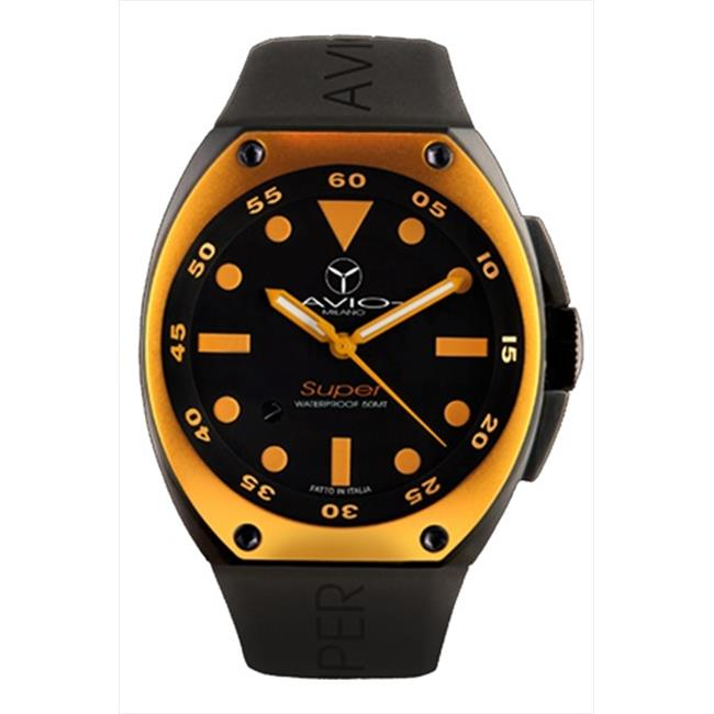 Avio Milano AVI SA BK 1002 Mens Super Tonneau Black Dial Watch - Orange