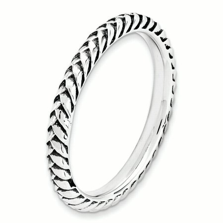 Sterling Silver Stackable Expressions Antiqued Ring Size 8 - image 2 de 3