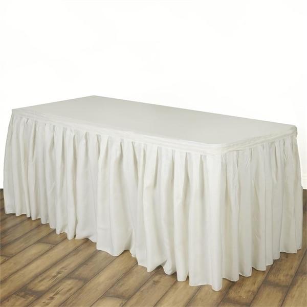 Ivory Polyester Table Skirt 21 Feet