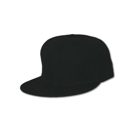 Plain Fitted Flat Bill Hat,  Black  7