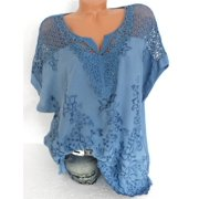 Lace Stitching Women Casual Plus Size Loose Blouse Tops