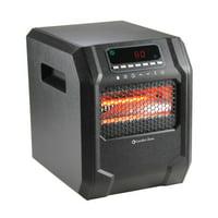 Comfort Zone 1,500-Watt Electric Digital Quartz Infrared Cabinet Space Heater with Remote Control in Black