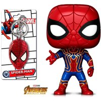 Warp Gadgets Spider-Man Bundle - Funko Pop Marvel: Infinity War - Iron Spider and Spider-Man Face Peweter Key Ring (2 Items)