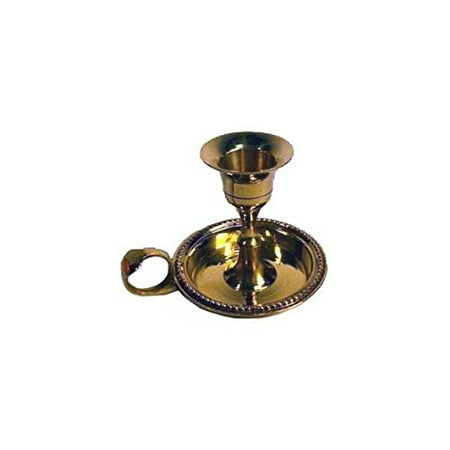 AzureGreen Brass Chamberstick Tapered Candle Holder ()