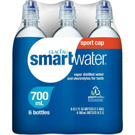Glaceau Smartwater Vapor Distilled Water, with Sport Cap, 23.7 Fl Oz, 6