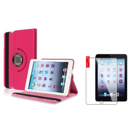 iPad Mini 3/2/1 Case, iPad Mini Case by Insten Hot Pink 360 Rotating Leather Case Stand Cover+2pcs Protector for iPad Mini 1 2 3