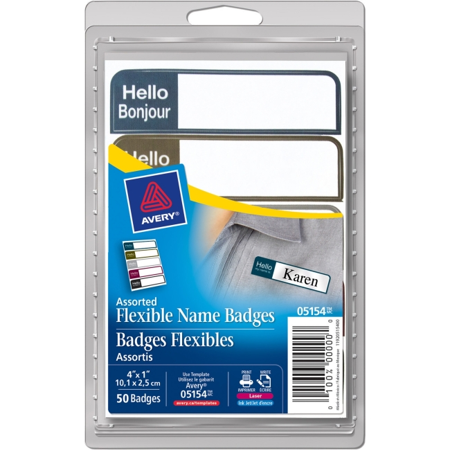 "Avery Flexible Adhesive Mini Name Badge Labels - ""Hello Bonjour"" - 1"" Width x 3.75"" Length - Rectangle - Laser, Inkjet - Assorted - 100 / Pack"