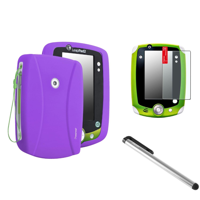 Insten Purple Skin Soft Cover Case+Anti-Glare SPT+Silver Pen For LPF LeapPad 1 2 3 Explorer