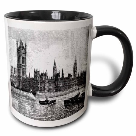 3dRose Famous Londons Big Ben In Black n White - Two Tone Black Mug, 11-ounce