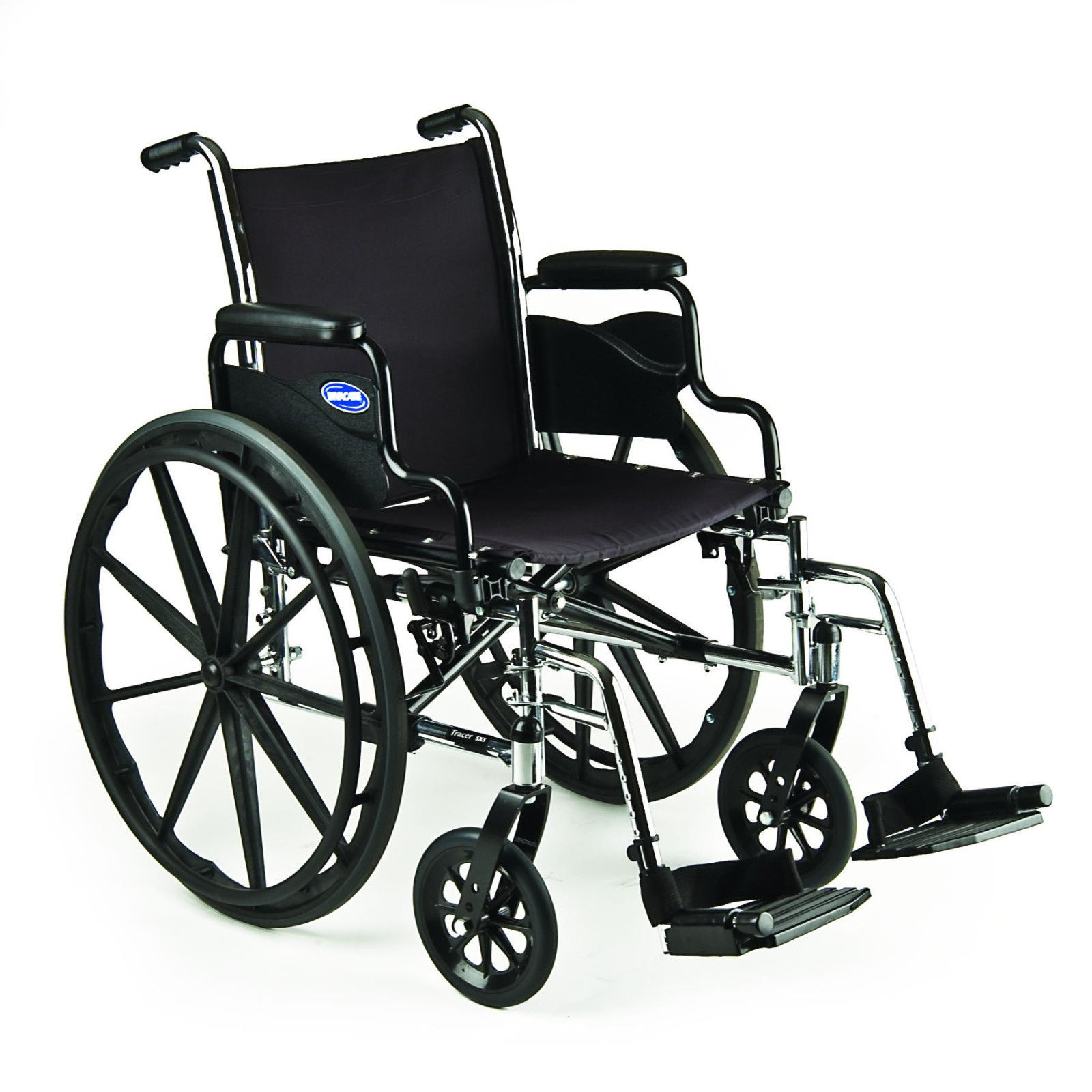 Invacare Tracer SX5 18x16 Lightweight Wheelchair Flip Back Desk Length Arms w/Footrest
