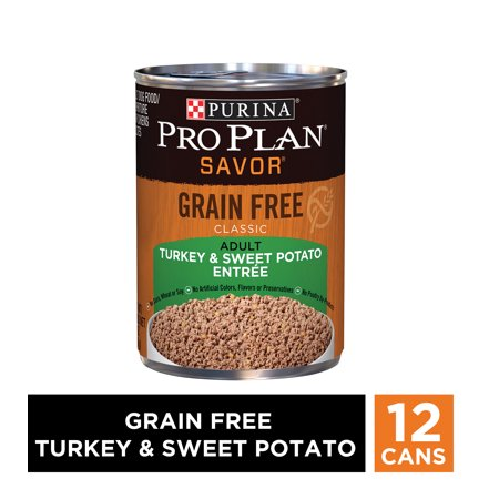 (12 Pack) Purina Pro Plan Grain Free Pate Wet Dog Food, SAVOR Grain Free Turkey & Sweet Potato Entree, 13 oz. Cans