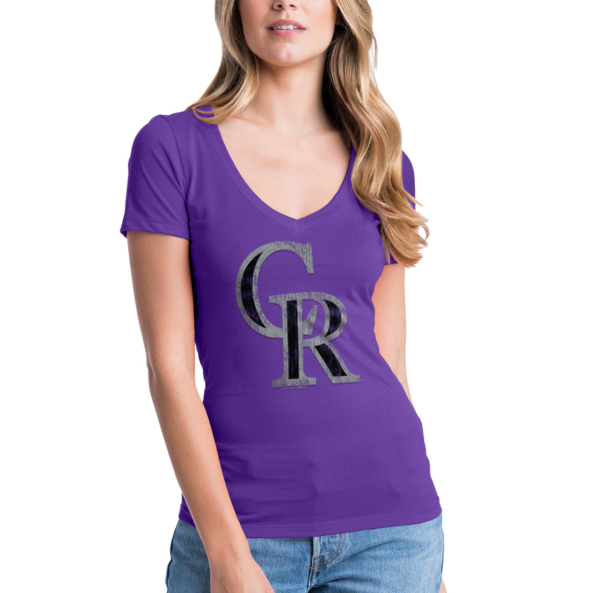 Colorado Rockies New Era Women's V-Neck T-Shirt - Purple