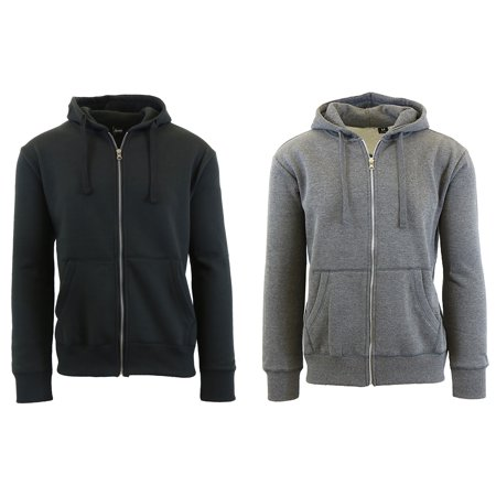 Mens Fleece Hoodie With Thermal Lined Hood Slim Fit Zip-Up Sweater (2-Pack)