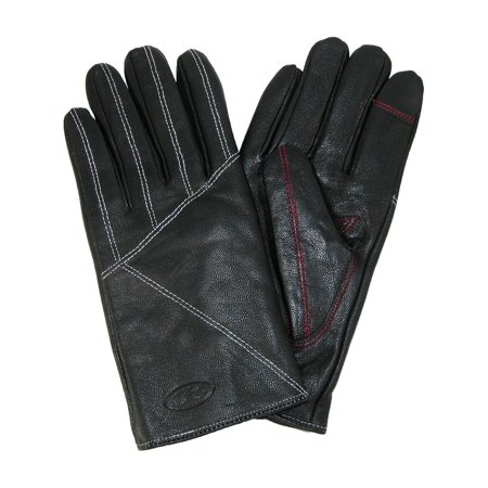 Black Lamb Leather - Men's Piece Lamb Leather Touch Screen Dress Glove,  Black