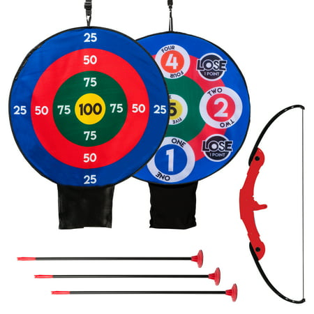 Franklin Sports Kids Archery Target Set - 1 Bow, 3 Self-Stick Arrows - Over the Door - Height-Adjustable Target - Perfect for Indoor Play thumbnail