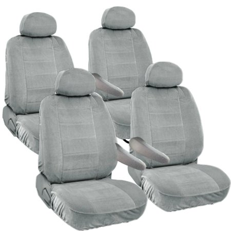 8pc Universal Seat Covers for Van Front & Middle 2 Row Armrest Access Hyundai Santa Fe Gray (Front Row Seat)