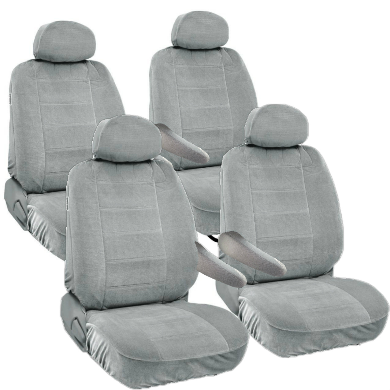 8pc Universal Seat Covers for Van Front & Middle 2 Row Armrest Access Honda Odyssey Gray Grey