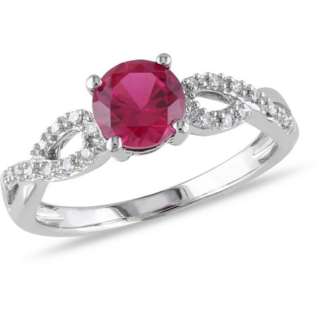 Tangelo 1 Carat T.G.W. Created Ruby and Diamond-Accent 10kt White Gold Infinity Engagement Ring