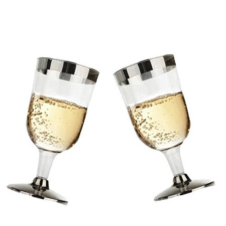 Hard Plastic Clear Wine Glasses With Silver Rim And Silver Base. 7 Ounce Capacity, Set of 12 Disposable Glass Drinkware.